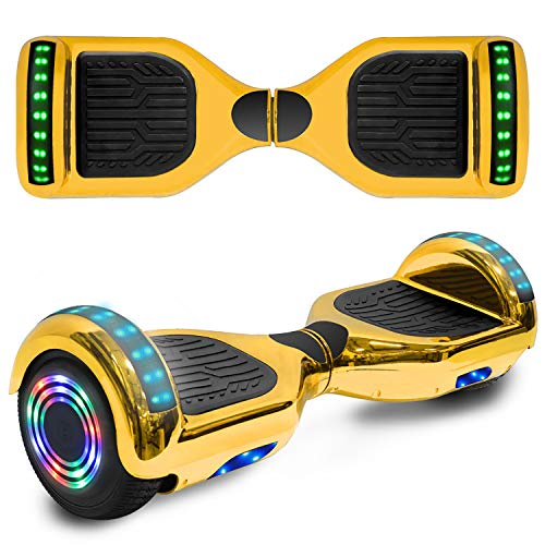Hoverboard 6.5' inch Wheel Electric Smart Self Balancing Scooter with Built-in Wireless Speaker Shiny LED Wheels and Side Lights Safety Certified (SHINY GOLD)
