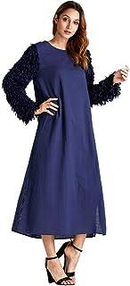 839758470e3 iLXHD Fashion Women Plus Size Tassel Long Sleeve Party O-Neck Long Dress  Robe Orange