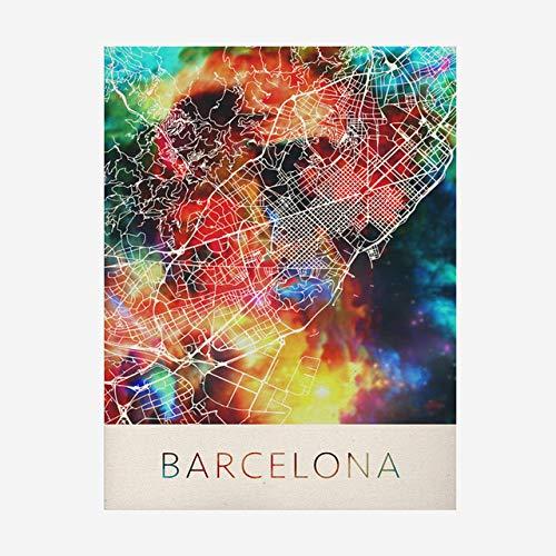 Rompecabezas De Madera 1000 Piezas   Barcelona Mapa De La Ciudad Colorido Patrón Puzzle,para Adultos Y Niños,Adolescentes Adultos Pruebas De Estrés Desafío Juguetes Difíciles,500Pcs