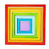 Bigjigs Toys - Cuadrados apilables de madera coloridos | Puzzle apilador