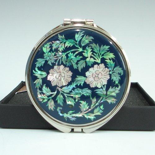 Specchio Compatto Doppio Blu Ingranditore in Madreperla Specchio da Borsetta Con Motivo Fiori di Peonie