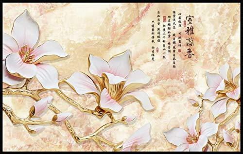 Xcmb Weiße Magnolienfarbe Der Tapete 3D, Die Hochwertigen Raum Lan Xiang Fernsehhintergrundwohnzimmerschlafzimmerwandtapete Schnitzt