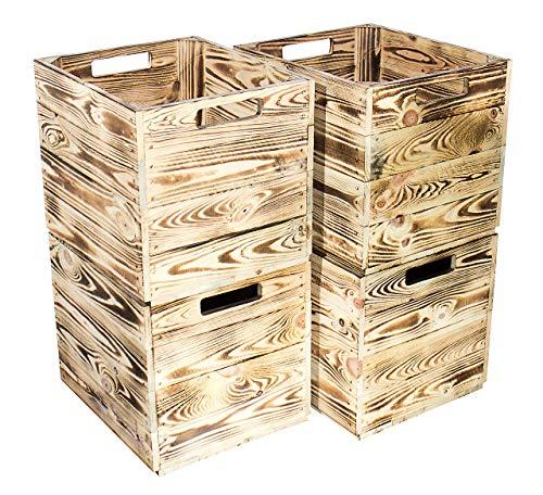 Obstkisten-online 4X KALLAX KISTE mit Eingriff von beiden Seiten - NEU - 32x37,5x32,5 cm - dekorative HOLZKISTEN zur Aufbewahrung, Ordnung von Dingen