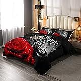Juego de edredón Africa Cheetah King, leopardo y rosa roja flor juego de ropa de cama para adolescentes y adultos, decoración de dormitorio con diseño de animales, color negro