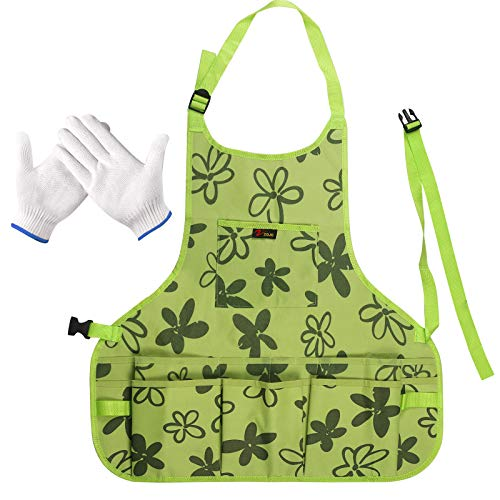 LOPOTIN Delantal de Jardín, Delantales de Trabajo de Tela Oxford Delantales Multifunción para Herramientas Jardinero Verde con 14 Bolsillos Cinturón Ajustable Impermeable para Adulto Niños Primavera.