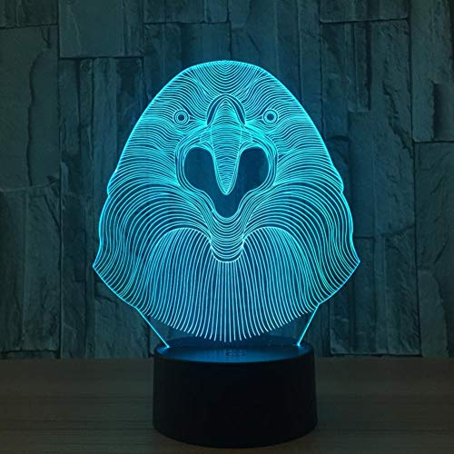 Likaxyd 3D Illusion Lampe Led Nachtlicht,Mit 7 Farben Flashing & Touch-Schalter Usb Powered,Geben Sie Ihrem Kind Das Beste Geburtstagsgeschenk Und Weihnachtsgeschenk-Schreiender Adler