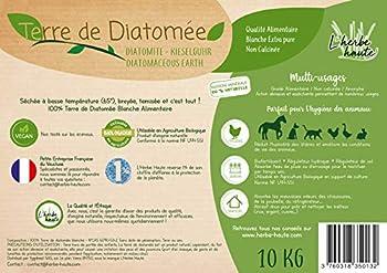 l'herbe Haute ® Terre de Diatomée Blanche Alimentaire - 10 kg Seau - Utilisable en Agriculture Biologique - Origine Naturelle sans Transformation Chimique - Nombreux usages