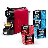 Bialetti Gioia, Macchina Caffè Espresso con incluse 80 Capsule, Supercompatta, Serbatoio 500 ml, Rosso
