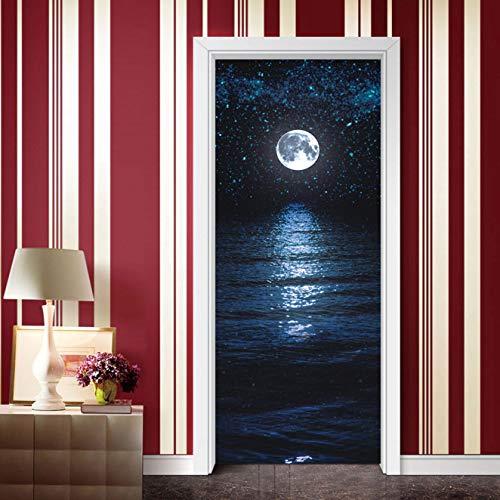 BVCK Retro Full Moon Landscape Door Sticker DIY PVC Waterproof Self Adhesive Wallpaper Stickers On The Doors Home Decor Poster Decals