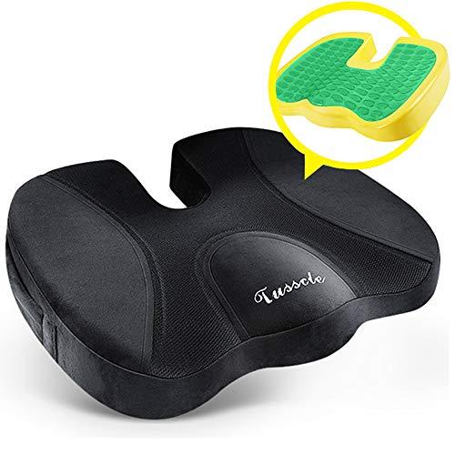 Tusscle Cojin coxis ortopedico de Gel,cojin ergonomico cojin coxis,100% Material de Espuma de Memoria para Silla de Oficina,Coche Sentarse con Silla de Ruedas (45 * 35 * 7.2 cm)