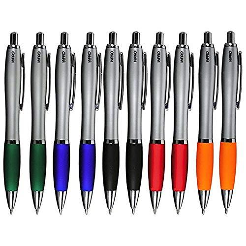 Werbeartikel-Pro WPRO Kugelschreiber 10 Stück David in Blaue Mine ergonomischer Dicker Griff Neu Neutral Kulli ohne Gravur Druck Logo im 10er Set … (Farbenmix)