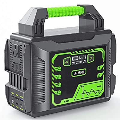 A-MIND Portable Power Station 300w 80000mAh Solar Camping Generators 296Wh Lithium Battery Power Supply Pure Sine Wave 110v/300w?Peak 600w? AC Outlet QC 3.0 for Outdoors Camping Travel Emergency