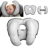Almohada de viaje ajustable para bebé para silla de paseo o cama, 2 en 1 cochecitos de silla de paseo Soporte de cuello suave para 6 meses a 2 año Bebé (Grey 1)