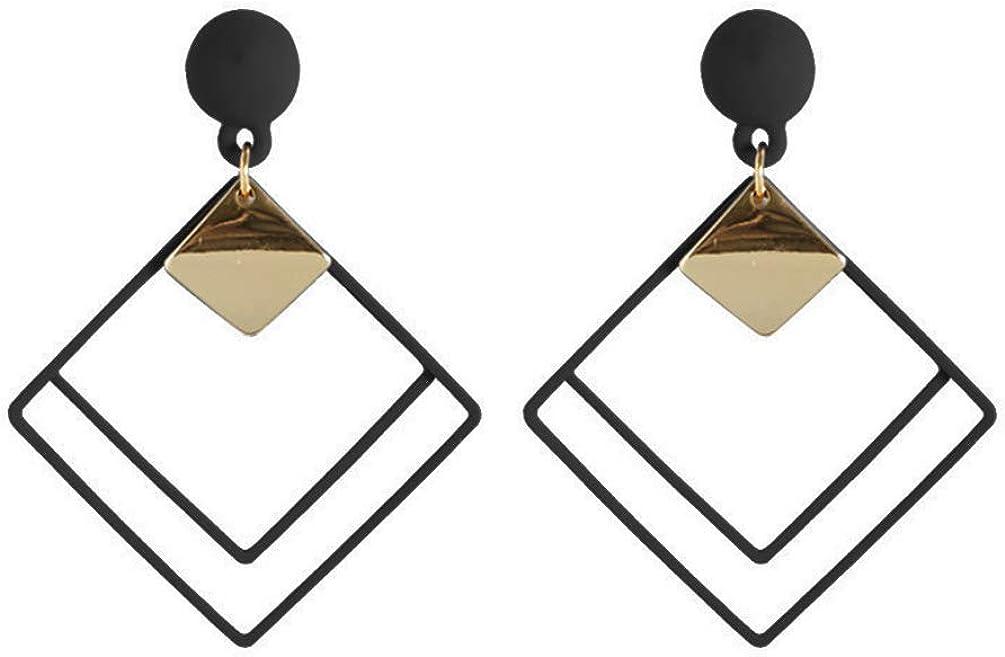 Clip on Earrings Multi Square Drop Dangle Earrings Rectangle Women Girls non Piecred Prom Wedding