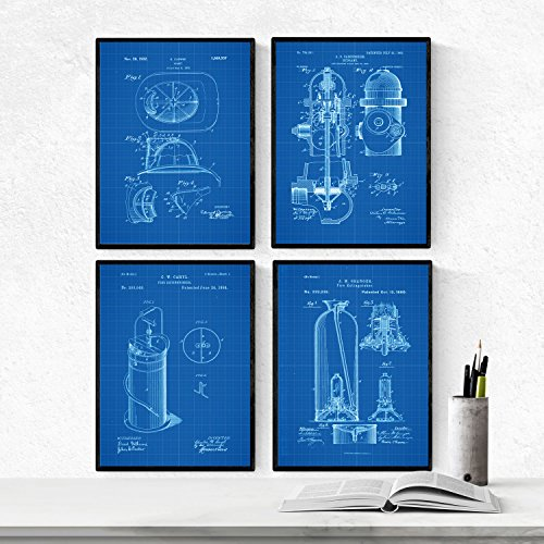 BLAUW - Pak van 4 vellen met PATENTS brandweer. Maak posters met uitvindingen en oude patenten. Kies de gewenste kleur. Gedrukt op hoge kwaliteit 250 gram. Nacnic