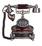 Antikes Retro Weinlesetelefon Villa Wohnzimmer Home Retro Telefon Festnetz Multi-Color Optionale Größe 25 * 19 * 25cm Braun/Weiß (Farbe : Brown)