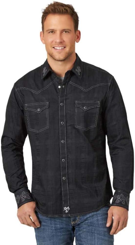 Wrangler Men's Rock 47 by Embroidered Solid Long Sleeve Western Shirt Black Medium