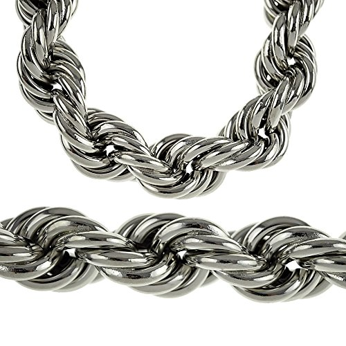 Heavy 25MM Silver Tone Thick Hollow Rope 36 Inch Long Necklace Hip Hop Dookie Bling Men's Chain