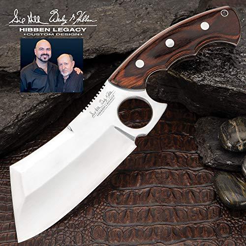 UNITED CUTLERY Gil Hibben Legacy Cleaver Küchenmesser Hackmesser mit rostfreier Edelstahlklinge und rotbraunem Hartholzgriff sowie Schwarze Lederscheide mit Gürtelschlaufe GH5085