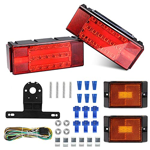 Helen Butler Upgrade LED Low Profile Submersible Rectangular Trailer Light Kit, Super Bright Brake Stop Turn Tail License Lights for Truck Marine RV Boat Camper Trailer 12V