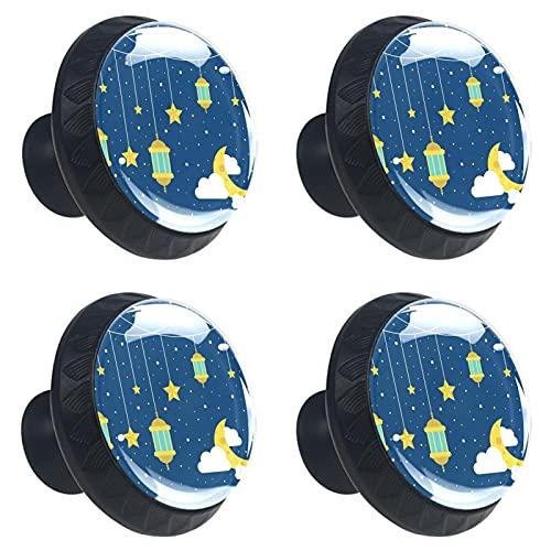 Yuzheng Manija del cajónTirador De Cristal Tirador Cocina Tiradores Prácticos para Cajones Muebles Armario Cajón Tirador 4 Piezas Linternas del Cielo Estrellado