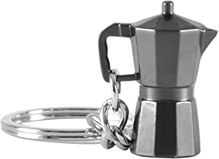 Flameer Coffee Style Keychains Party Favor Gifts, Great for Coffee Lovers Friends Keyring Decorations - Moka Pot