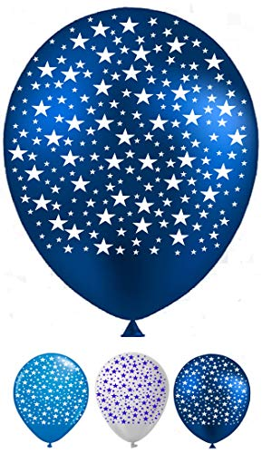 """Vision Blue Stars 12"""" Birthday Party Latex Balloons 30 Pcs Printed all around, Royal Blue, Light Blue and White Colors Unique Design Premium Latex for Star Balloons Party Supplies & Decorations Birthday Party, Baby Shower and Weddings"""