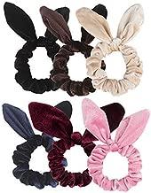 Ondder 6 Pack Hair Scrunchies Rabbit Bunny Ear Bow Bowknot Scrunchies Velvet Scrunchy Bobbles Elastic Hair Ties Bands Ponytail Holder, 6 Colors (6 Pack)