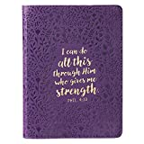 All This Through Him Philippians 4:13 Bible Verse Purple Faux Leather Journal w/Ribbon Handy-sized Flexcover Inspirational Notebook w/Ribbon, Lined Pages, Gilt Edges, 5.5 x 7 Inches