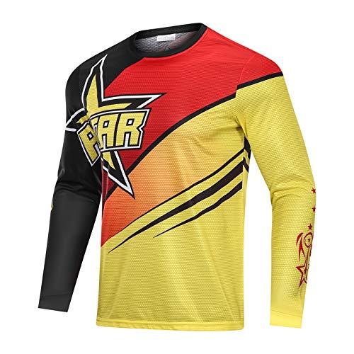 Rstar Motocross Jersey Long Sleeves Shirt Breathable Quick-Dry Dirt Bike Downhill Tops Motorcycle Racewear BMX Anti-UV (XL)