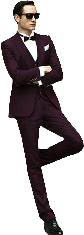 P&G Men's Slim Fit 3-Piece Suit Formal Jacket Vest Pants Set for Party