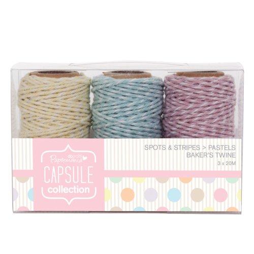 Papermania Capsule Collection - Lote de 3 rollos de cordel, diseño de lunares y rayas, colores pastel
