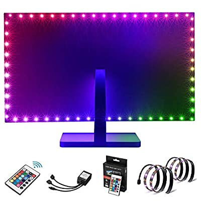 Kohree TV Backlight Bias HDTV USB Powered 2 RGB Multi Color Led Strip with Remote Control Home Theater Accent Lighting Kits (Reduce Eye Fatigue and Increase Image Clarity), Multicolour, Set of 2