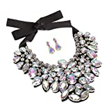 """❀ Package:1 big statement necklace and 1 pair matching earrings ,necklace is made of environmental friendly glass beads and rhinestone with ribbons,its back has soft leather. ❀ Size: necklace: w6.02"""" & h7.32"""" and inner ring – 3.07"""" ❀earrings: 1.7"""" * ..."""