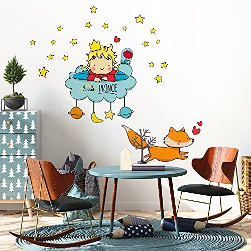 Le R00157 Petit Prince sur Le Nuage Autocollant muraux – 60 x 76 cm – Décoration Murale, Mural/Papier Peint Autocollant - papier adhésif effet tissu