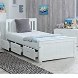 Happy Beds Mission Wooden Solid White Pine Storage Bed Drawers Furniture Frame 3' Single 90 x 190 cm