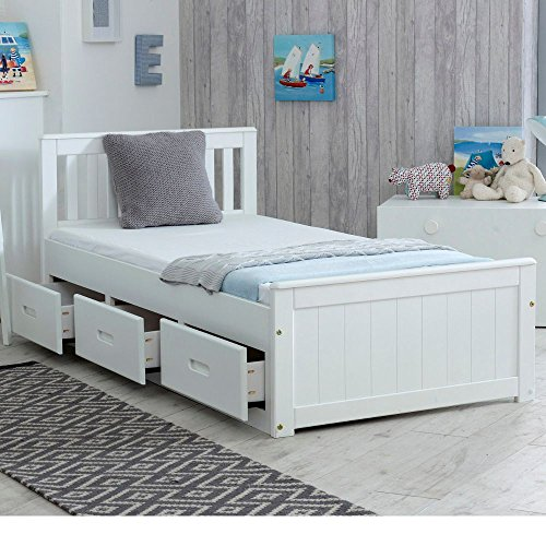Happy Beds Mission Wooden Solid White Pine Storage Bed Drawers Furniture with Flex 1000 Orthopaedic Mattress 3' Single 90 x 190 cm