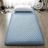Colchón de suelo japonés, grueso Tatami para dormir, colchón suave y plegable, colchón enrollable portátil, almohadilla transpirable (color: azul, tamaño: 120 x 200 cm)