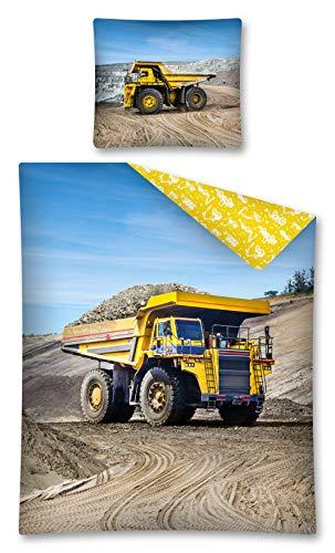 Zirvehome - Juego de ropa de cama (2 piezas, 140 x 200 cm y 1 funda de almohada, funda nórdica de color azul, amarillo y beige, camión de camiones amarillo)