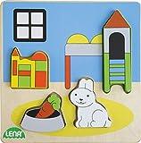 Lena habitación Infantil Base de 14 x 14 cm y 4, Piezas y Placa FSC 100% Madera, Puzzle Partir de 18 Meses, Juego para niños pequeños, Color carbón (SIMM Spielwaren 32144)