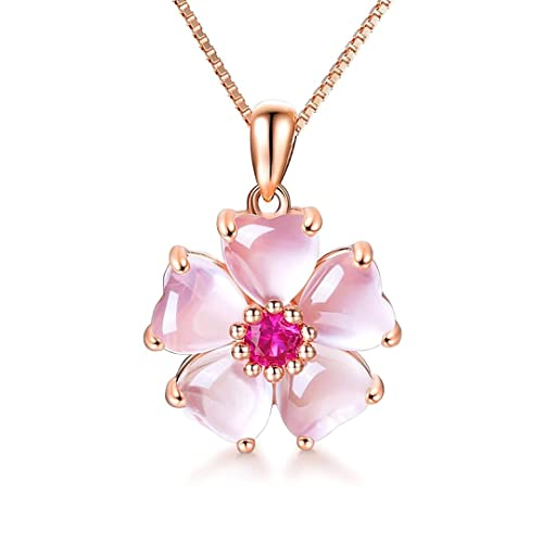 73a4833f8 YOUMIYA Rose Gold Cherry Blossoms Necklace for Graduation Pink Beautiful  Artificial Stone Crystal Necklace Best Gifts