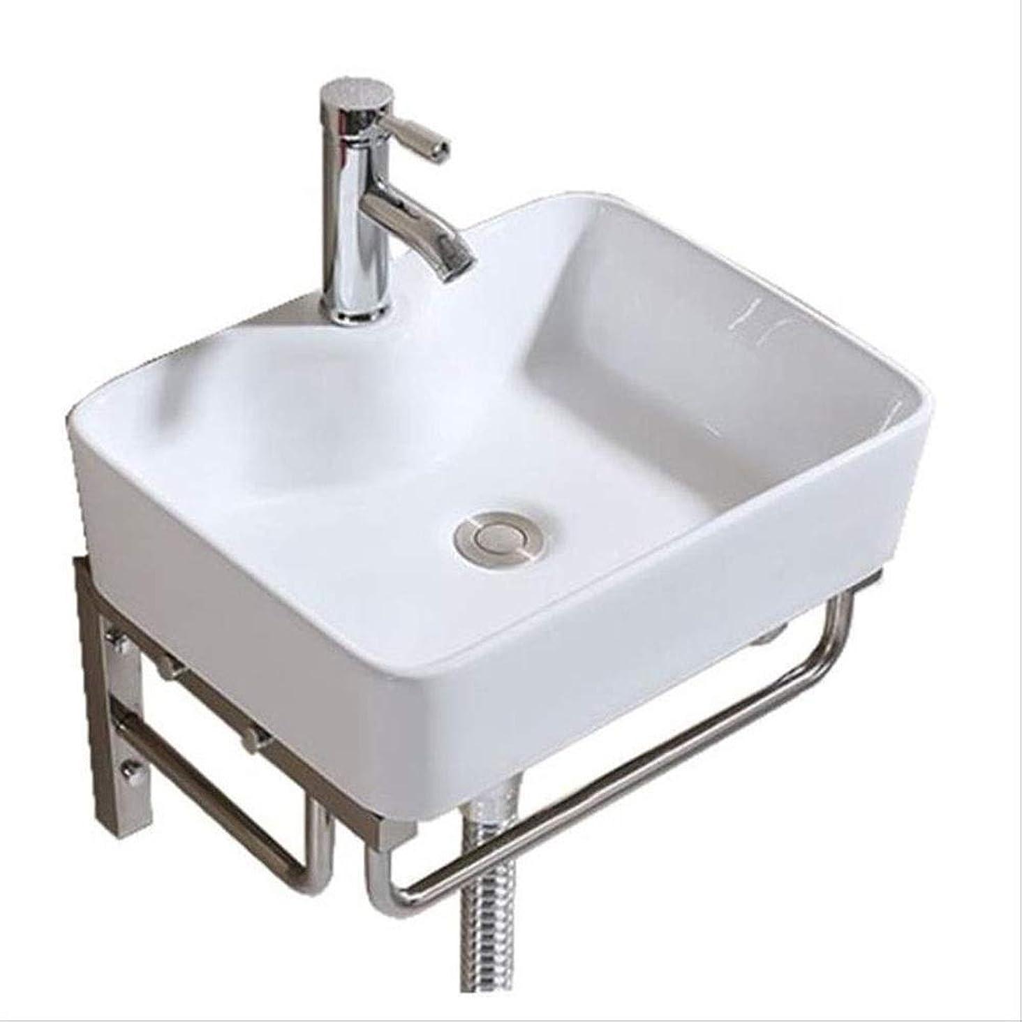居住者めるオン洗面ボール 小さなクロークが維持しやすいときれいな白いセラミック洗面台ウォールマウント 浴室用 キッチン用 (Color : White, Size : Free size)