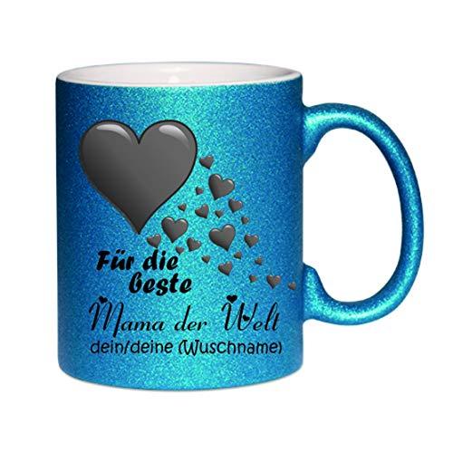 Crealuxe Glitzertasse (Dunkelblau) Für die Beste Mama der Welt, Dein/Deine (Wunschname) - Kaffeetasse, Bedruckte Tasse mit Sprüchen oder Bildern, Bürotasse,