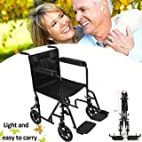 All AID Lightweight Transit Comfortable Portable Folding Travel Wheelchair with Brakes