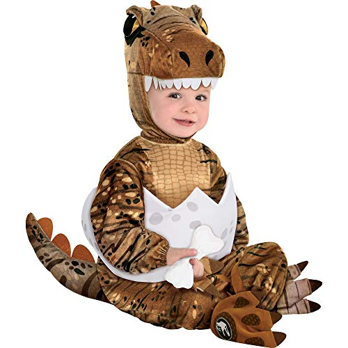 Party City T-Rex Hatchling Halloween Costume for Babies, Jurassic World, 6-12M, Jumpsuit, Hood, Tail, Booties, Rattler
