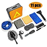 Hhobake 11Pcs Car Cleaning Tools Kit Car Wash Tools Kit for Detailing Interiors Premium Microfiber Cleaning Cloth Car Wash Sponges Tire Brush Window Water Blade and Snow Shovel