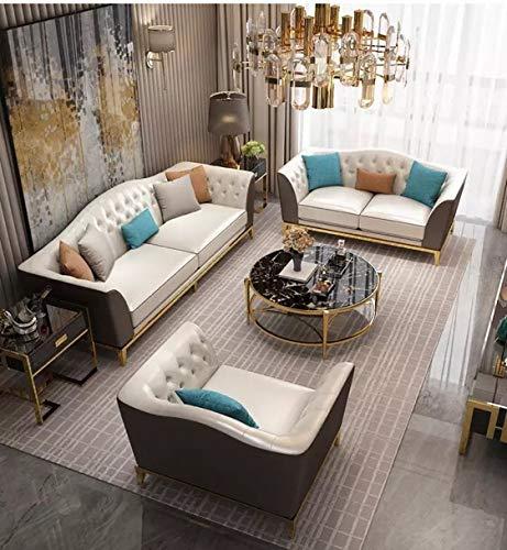 JVmoebel Chesterfield, set di seduta in acciaio inox, per soggiorno e divano 3+1