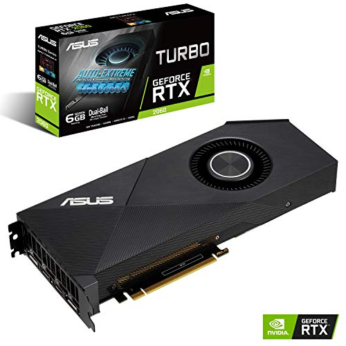 ASUS Turbo GeForce RTX 2060 Carte Graphique Gaming (6GB GDDR6, DirectX12, Ventilateurs à double roulement à billes, GPU Tweak II, Auto-Extreme, 144hr validation)