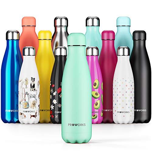 Proworks Botellas de Agua Deportiva de Acero Inoxidable | Cantimplora Termo con Doble Aislamiento para 12 Horas de Bebida Caliente y 24 Horas de Bebida Fria - Libre de BPA - 1L - Menta Neo