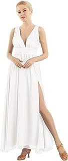 ACSUSS Womens Elegant Chiffon Sleeveless Deep V Front Split Long Bridesmaid Dress